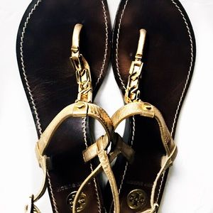 Tory Burch Gold Chain Link Thong Sandals 8